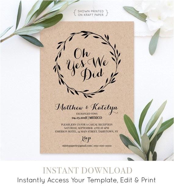 elopement announcement printable