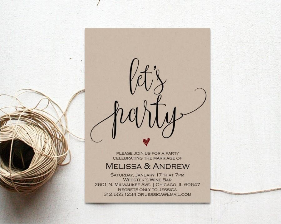 elopement party invitation elopement party editable wedding invitation elopement invitation template we eloped just married wset5