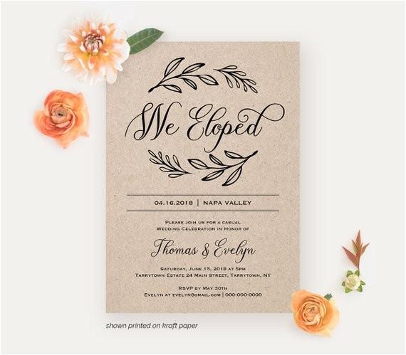 we eloped reception invitation template