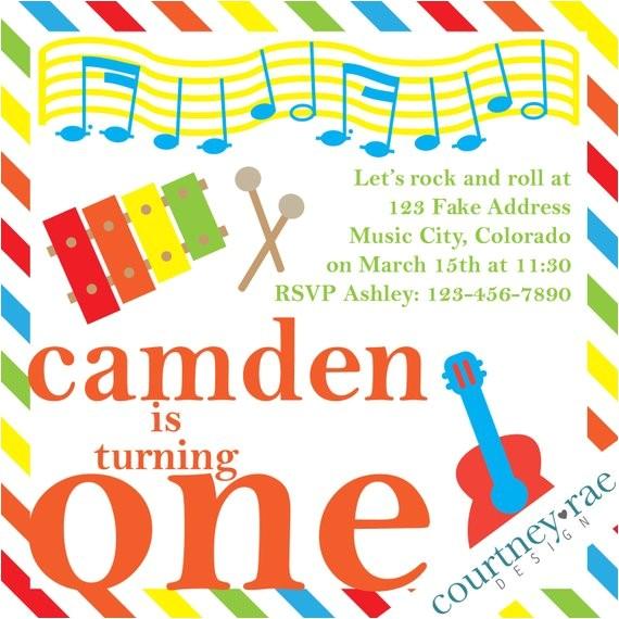 music birthday party invitation