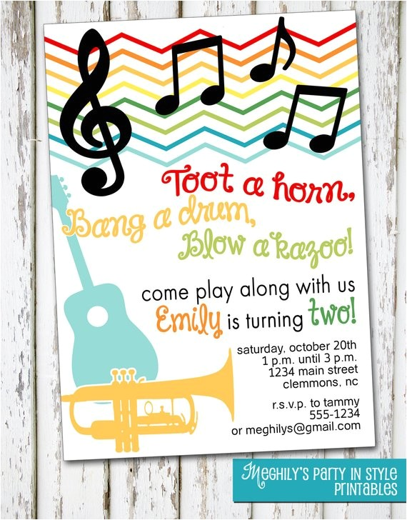 music musical instruments invitation