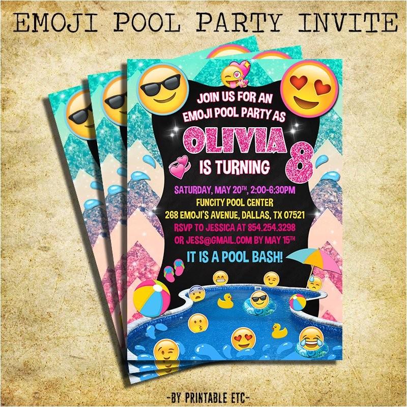 emoji pool party invitation emoji icons
