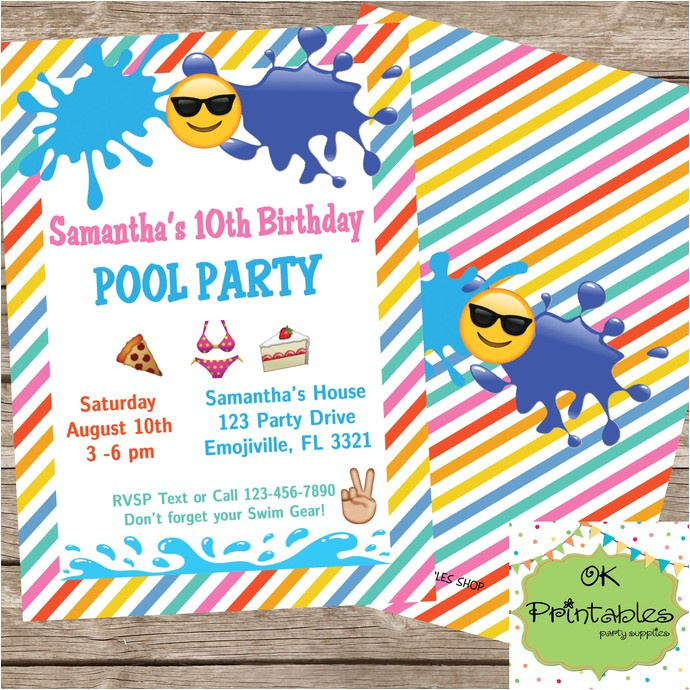 emoji pool party invitation emoji sunglasses swim party beach pool party swimming splash digital or printed 5x7 inches 2 sides