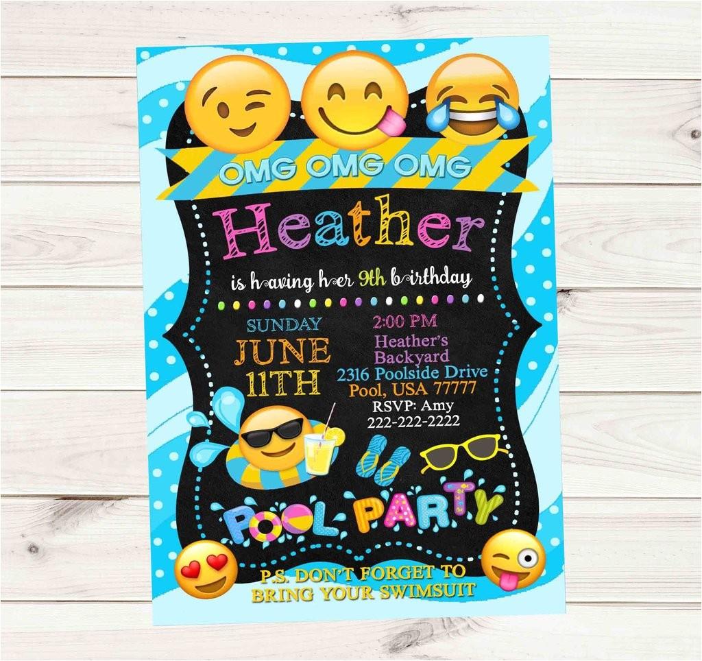 emoji pool party invitations
