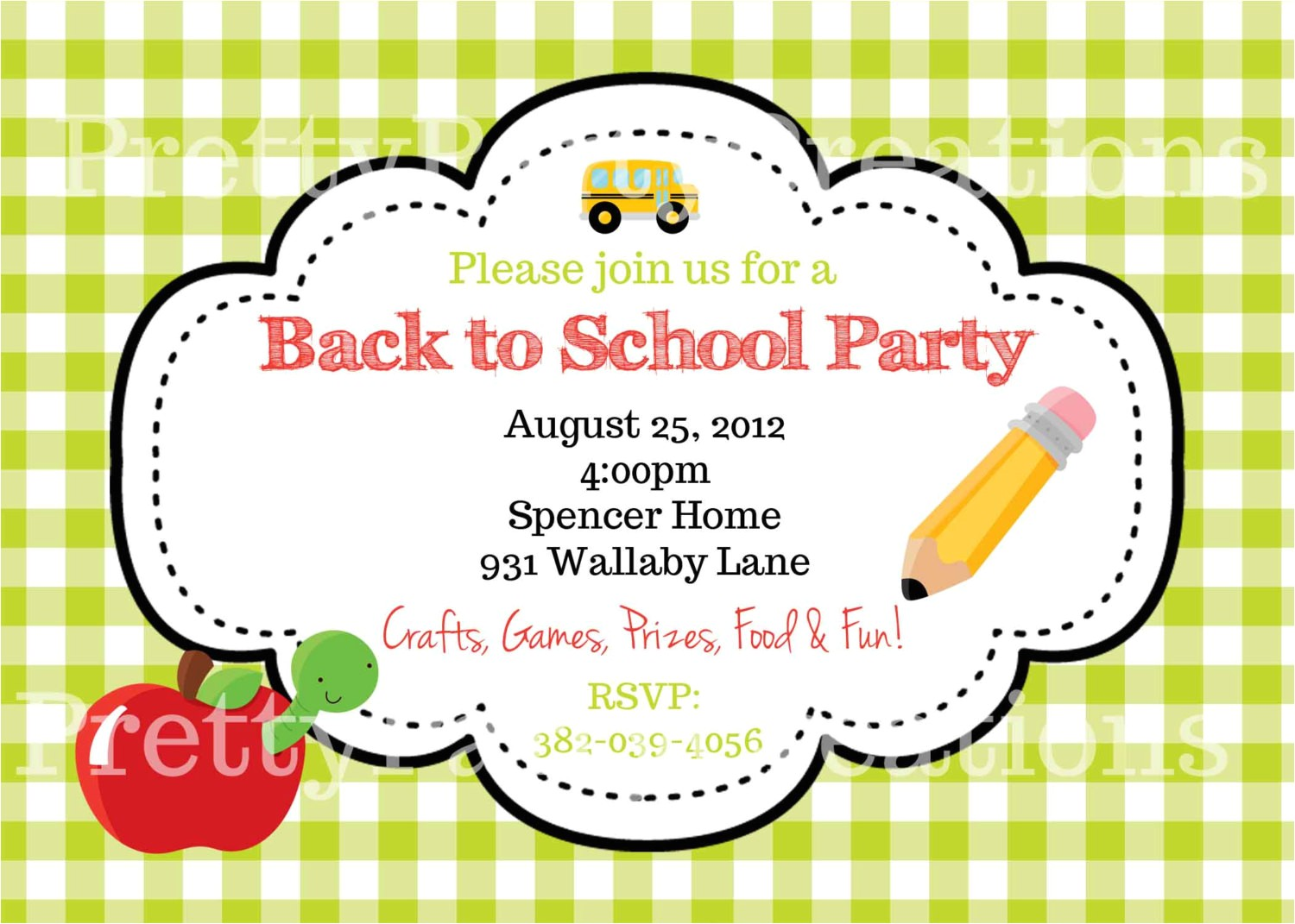 end of summer apple back to school party invitation