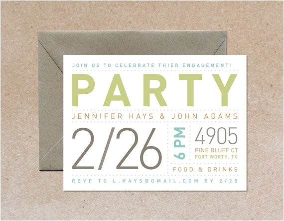 modern typography party invitation