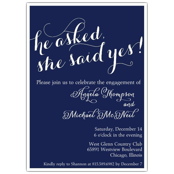 she said yes engagement party invitations p 628 57 347