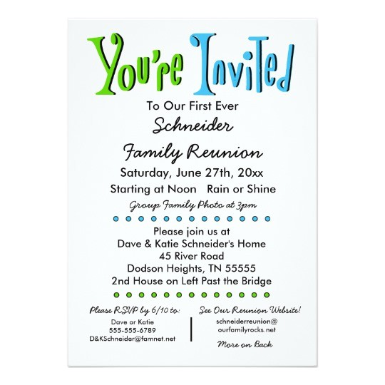 fun family reunion party or event invitation 256515513202902114