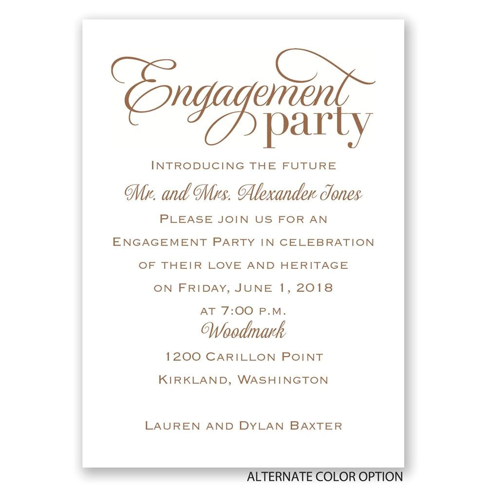 classic style mini engagement party invitation