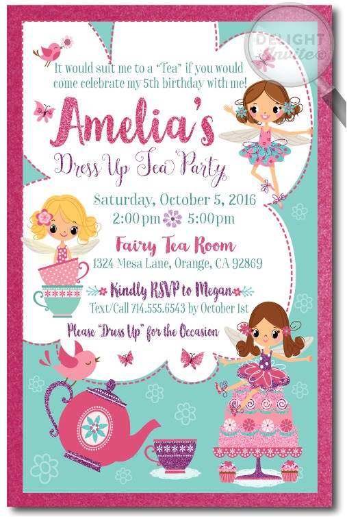 fairy tea party birthday invitations p 3499