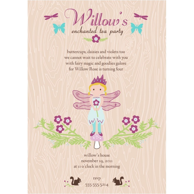 enchanted fairy tea invitation