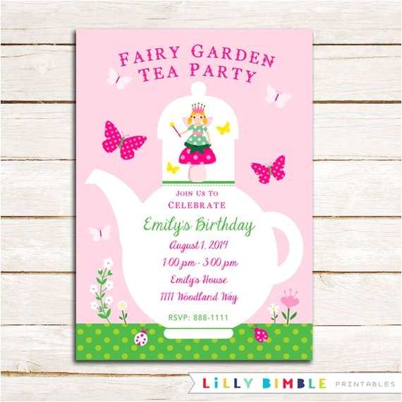 fairy garden tea party birthday invitation