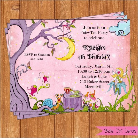 fairy tea party invitations tpi108 diy