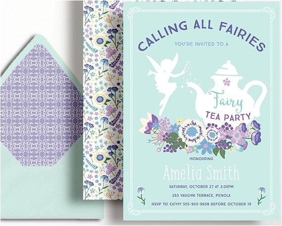 fairy tea party invitation fairies girls