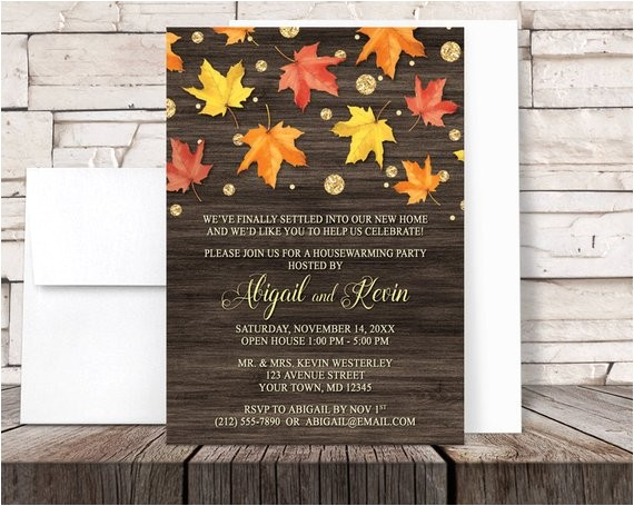 autumn housewarming invitations rustic falling leaves