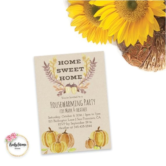 fall housewarming invitation autumn