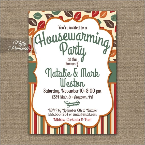 fall housewarming party invitations