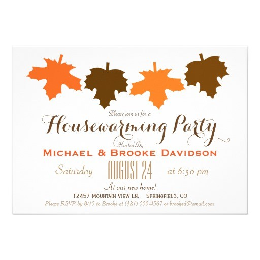 orange brown fall leaves housewarming party invitation 256093818243488327