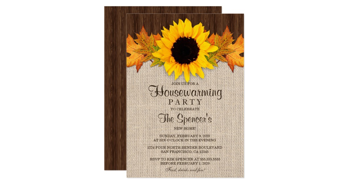 rustic fall sunflower housewarming party invites 256068092221555200
