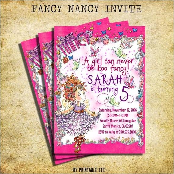 fancy nancy birthday invitation fancy