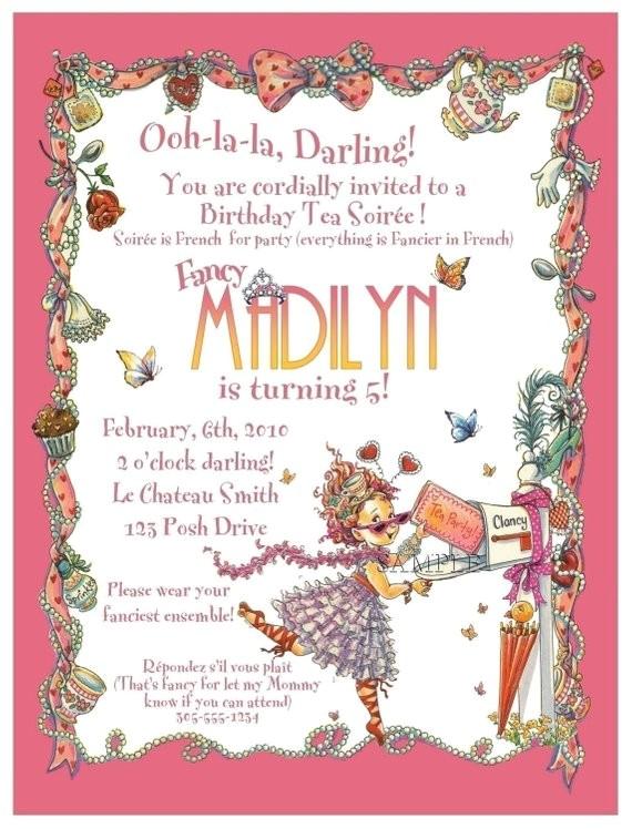 fancy nancy tea party invitation digital