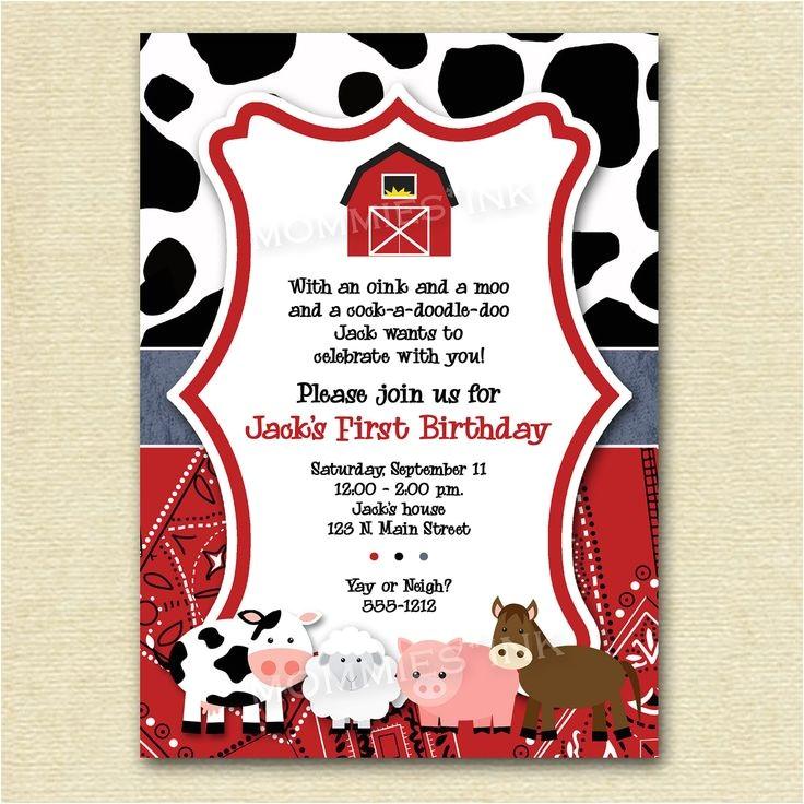 farm themed birthday party invitations