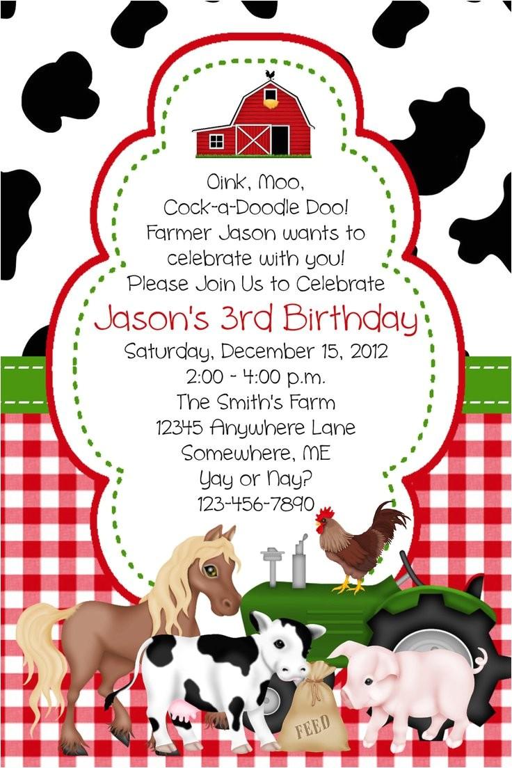 barn birthday invitations