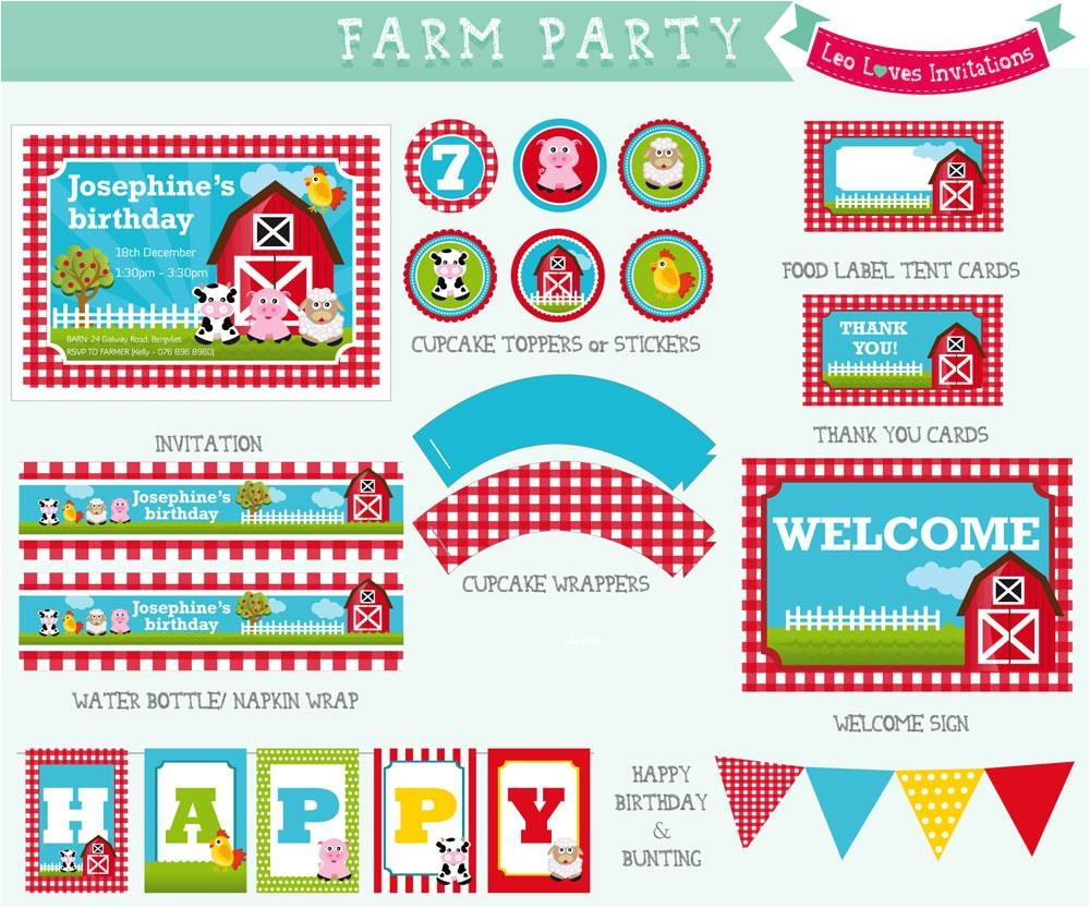 Farmyard Party Invitations Free Farm Party Printable Leo Loves Invitations