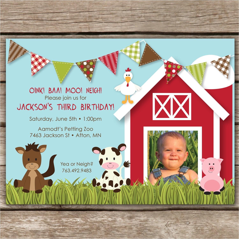 farmyard fun custom photo birthday