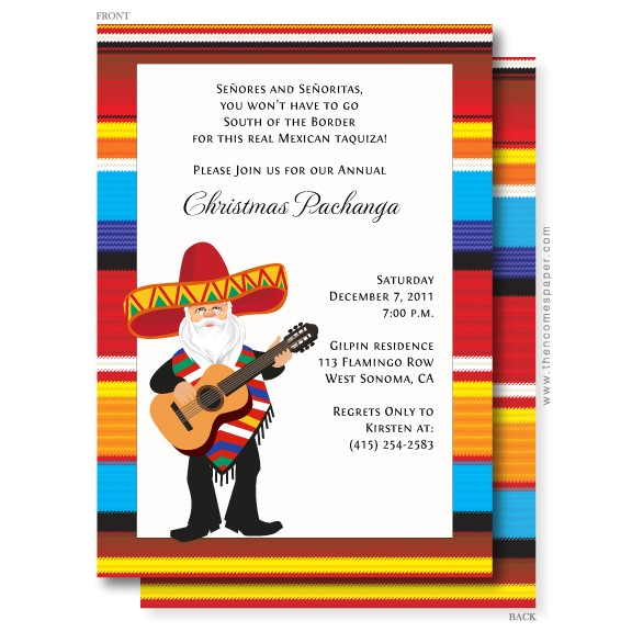 mexican santa christmas invitation