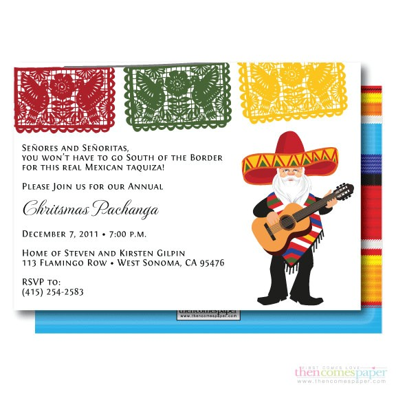 papel picado mariachi santa in zarape christmas holiday party invitation