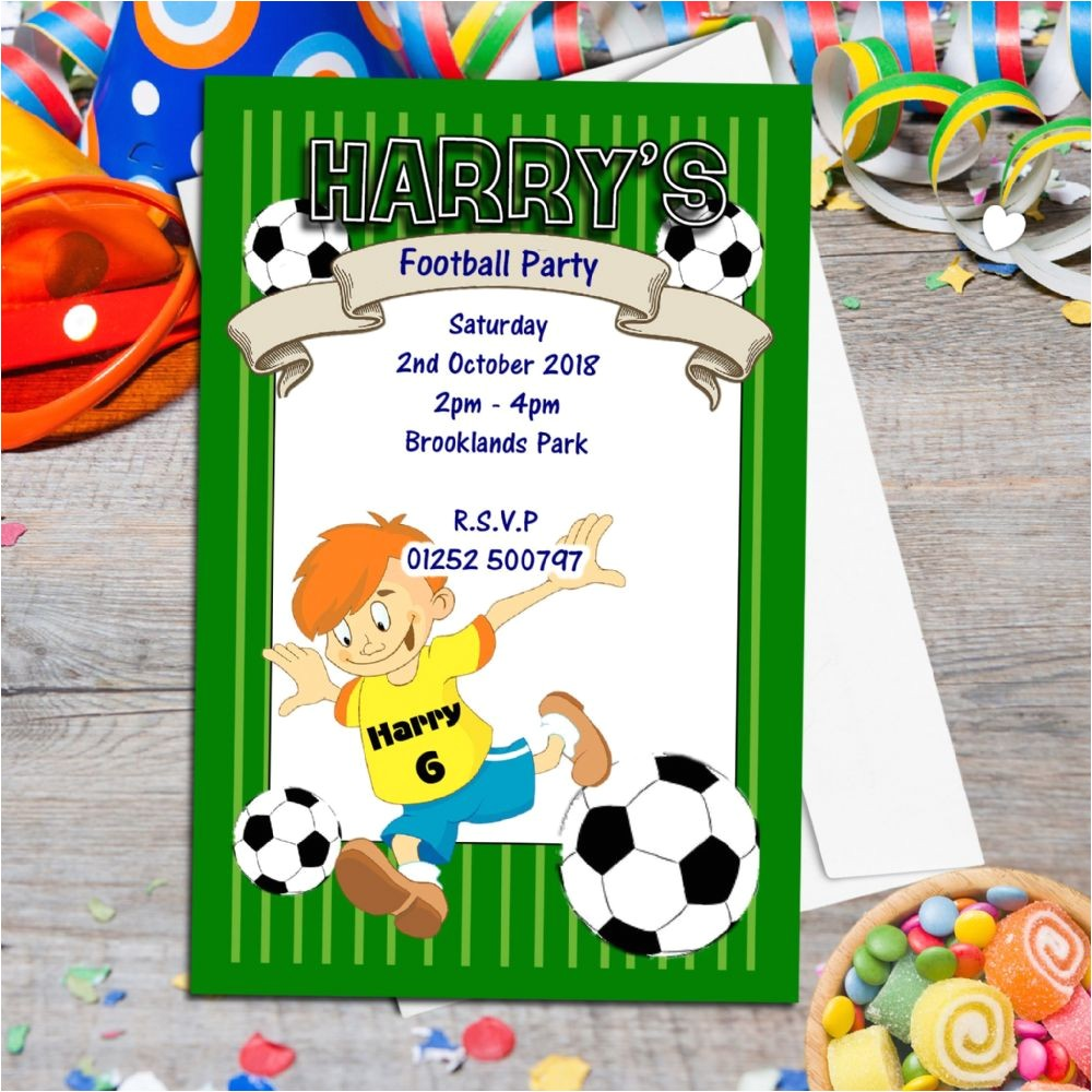10 personalised football birthday party invitations n40 1150 p