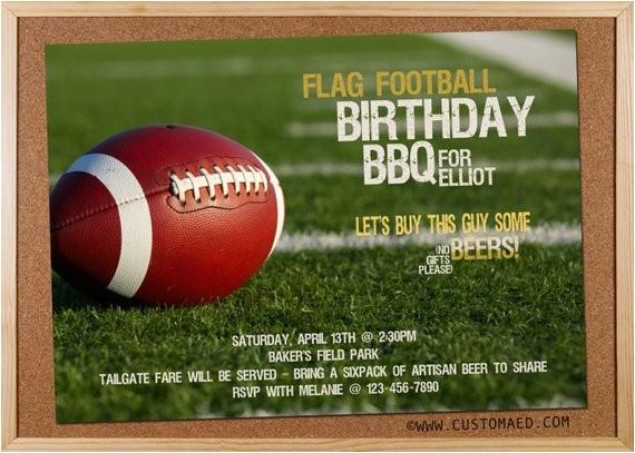 birthday flag football invitation man