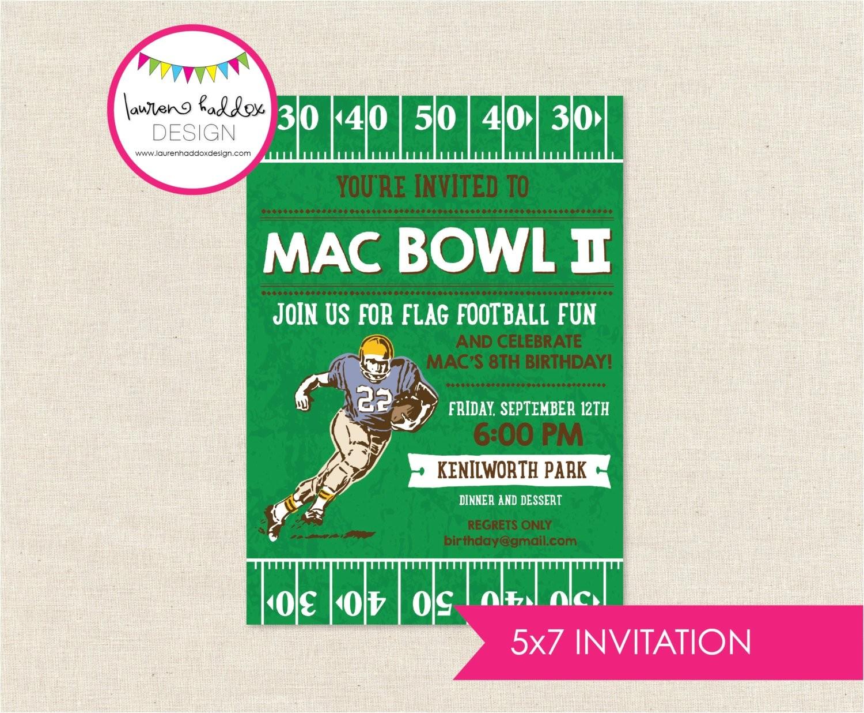 Flag Football Party Invitations Football Birthday Invitation Football Birthday Flag Football