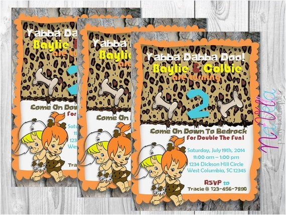 flintstones twin birthday invitation