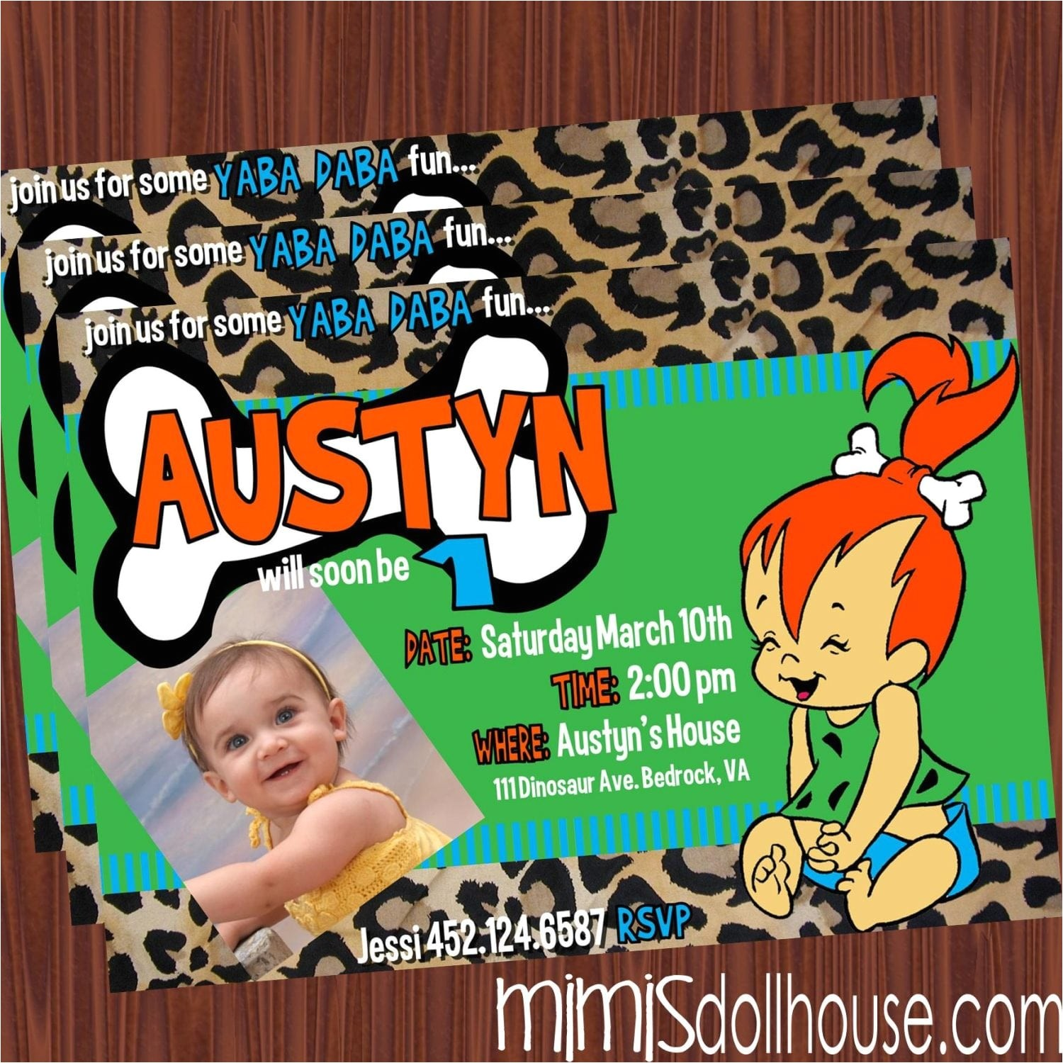 pebbles invitation green