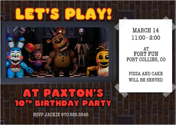 five nights at freddys invitation fnaf