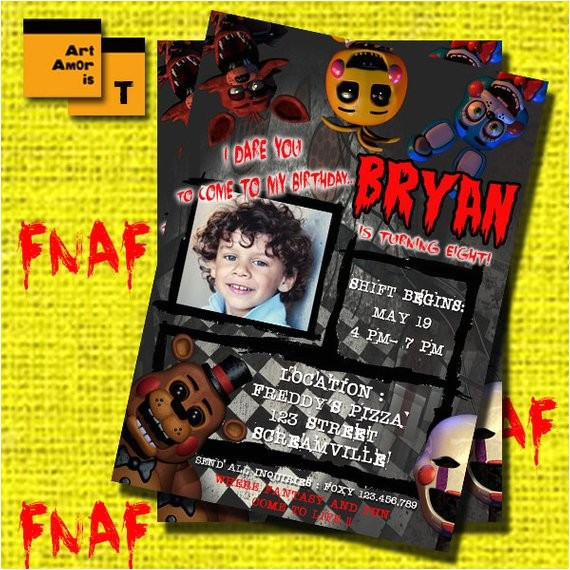 fnaf birthday invitation five nights at