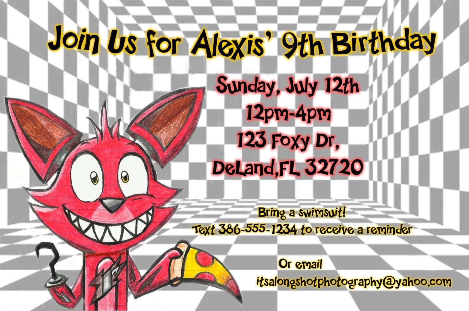 fnaf foxy birthday invitation