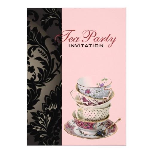 elegant vintage gold black formal damask tea party invitation 161031209048719048