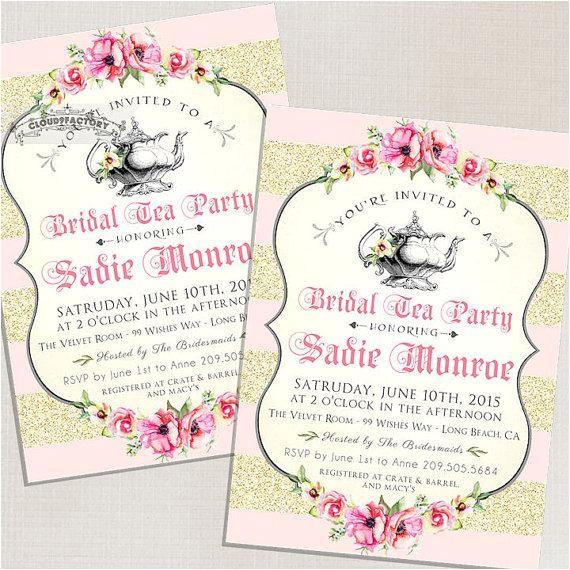 bridal shower invitations high tea