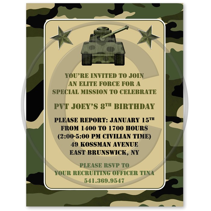 birthday invitation templates military