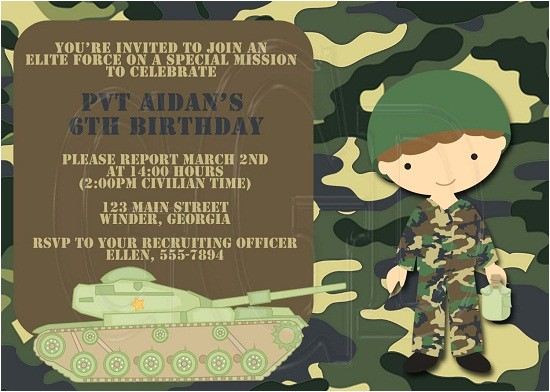 army birthday invitations