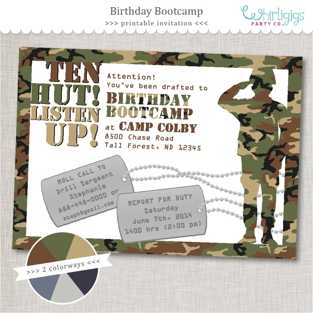 bootcamp birthday army party invitation