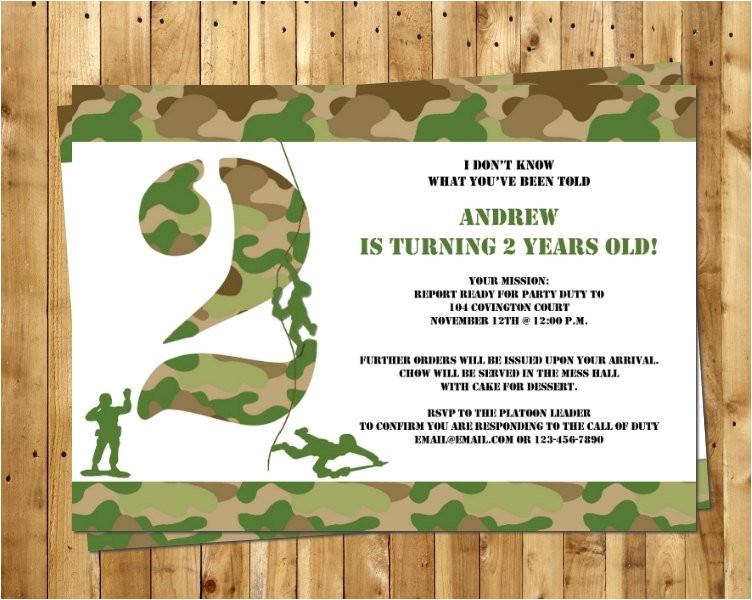 free army birthday party invitation template