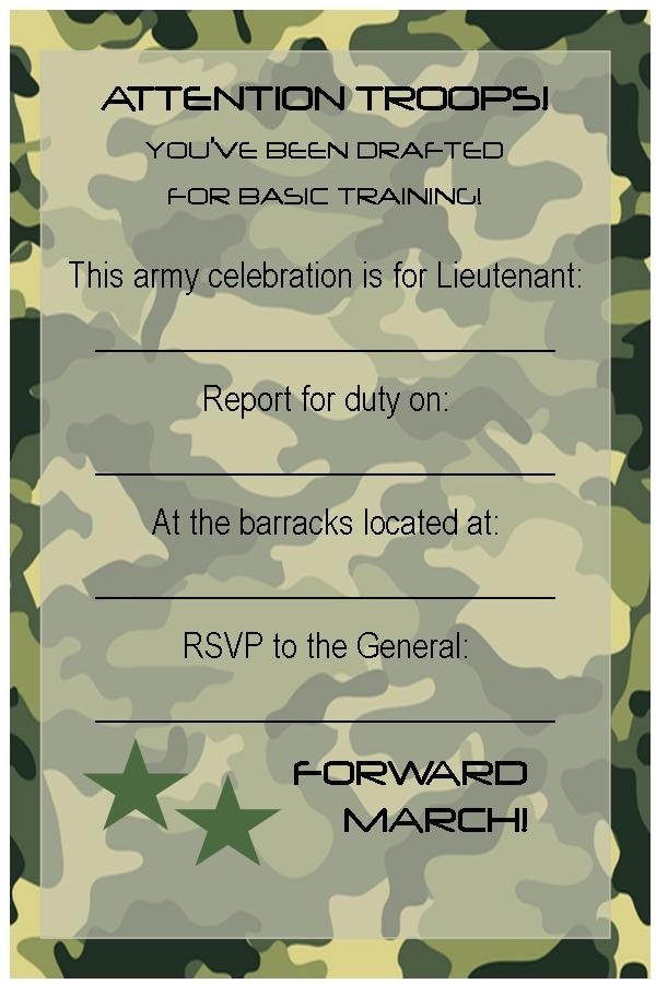 Free Army Birthday Party Invitation Template Free Printable Invitations Army Car Racing Swim Party