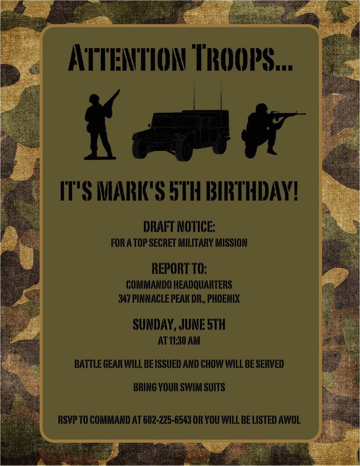 printable free army birthday invitation