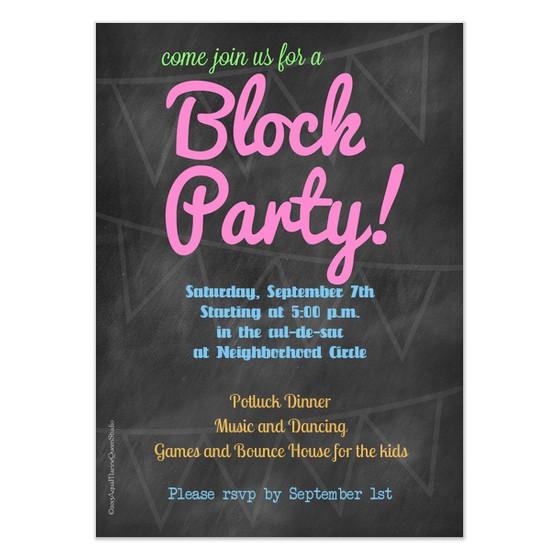 chalkboard block party invitation