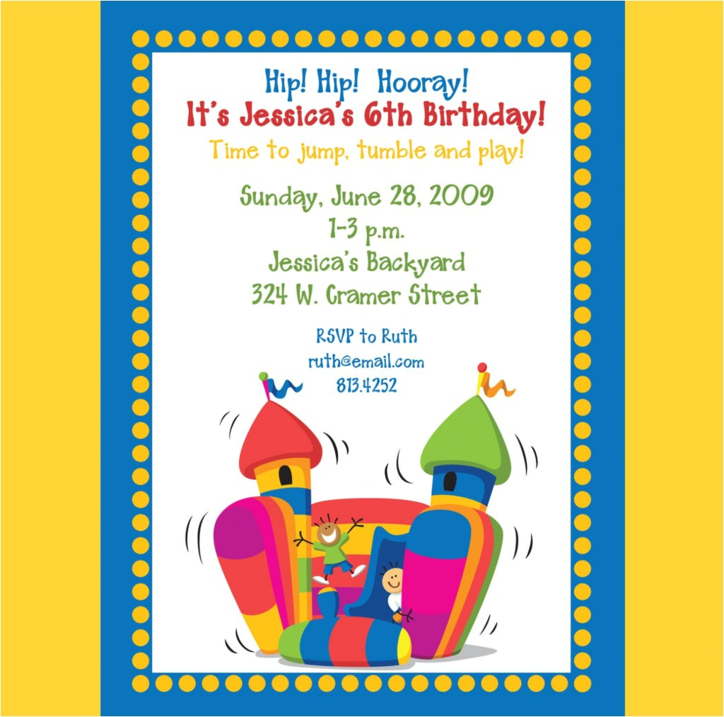 bounce house party invitations template best template collection bounce house birthday invitations