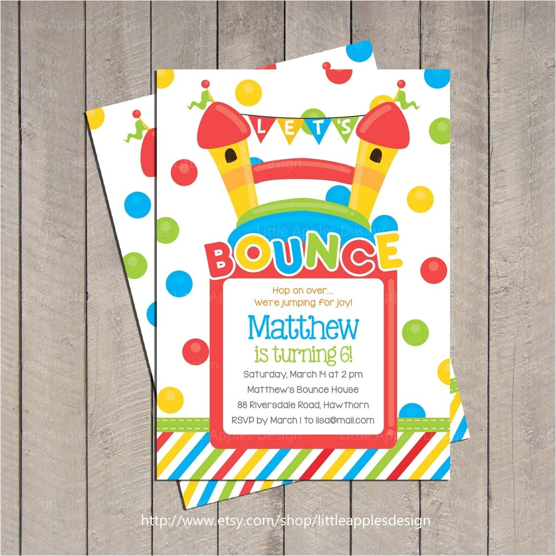 bounce house birthday invitation bounce